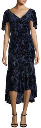 Theia Velvet Devore V-Neck Cape-Sleeve Cocktail Dress