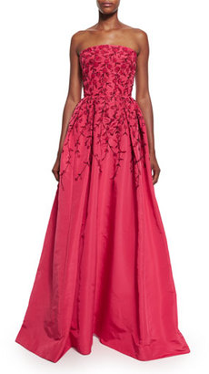 Oscar de la Renta Floral-Embroidered Strapless Ball Gown, Raspberry/Black $10,490 thestylecure.com