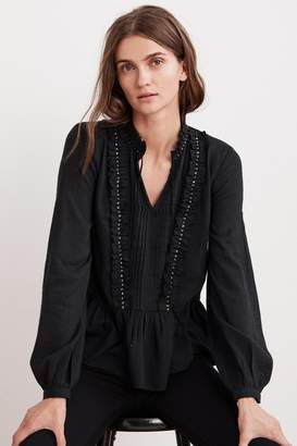 Velvet by Graham & Spencer PEPPER BEADED RUFFLE BLOUSE