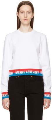 Opening Ceremony White Cropped Elastic Logo Sweatshirt