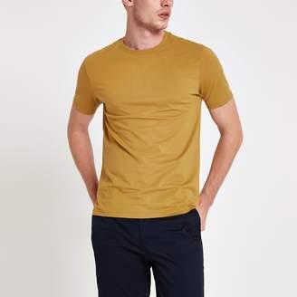 River Island Mens Yellow slim fit crew neck T-shirt