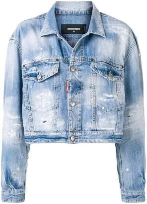 DSQUARED2 cropped distressed denim jacket
