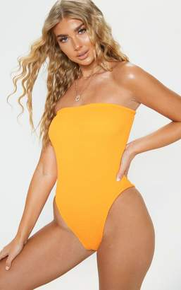 a9168f8314 PrettyLittleThing Orange Crinkle Strapless Swimsuit