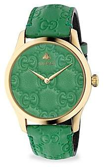 Gucci G-Timeless Gold PVD Case 38MM Pastel Green Leather Strap Watch