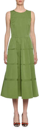 Bottega Veneta Sleeveless Boat-Neck Midi Dress with Pockets