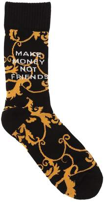 Blend of America Make Money Not Friends Logo Intarsia Techno Knit Socks