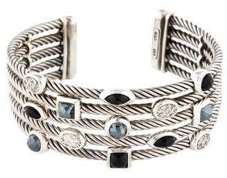 David Yurman Diamond, Hematine & Onyx Confetti Cuff