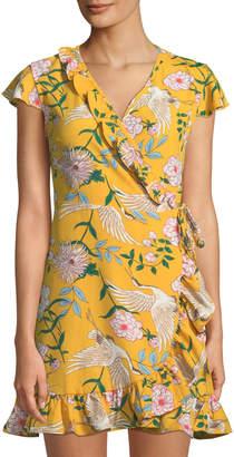 Free Generation Bird & Flower Print Wrap Dress