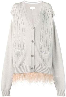 Maison Margiela feathered hem cardigan