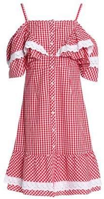Walter W118 By Baker Carter Cold-Shoulder Gingham Cotton-Poplin Dress
