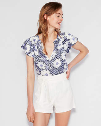 Express Petite Floral Smocked Ruffle Blouse