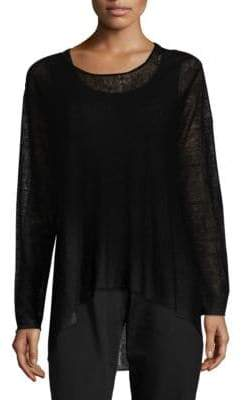 Eileen Fisher Crepe Jewelneck Top