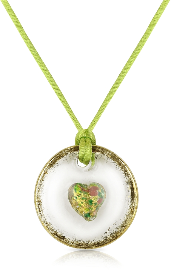 Murano House of Round Glass Pendant w/Green Lace