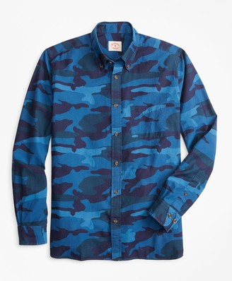 Brooks Brothers Indigo-Dyed Camo-Print Chambray Sport Shirt
