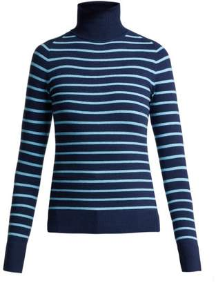 JoosTricot Striped Cotton Blend Roll Neck Sweater - Womens - Blue Multi