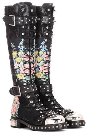 Alexander McQueenAlexander McQueen Embellished leather boots