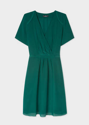 Paul Smith Women's Dark Green Wrap Silk Dress