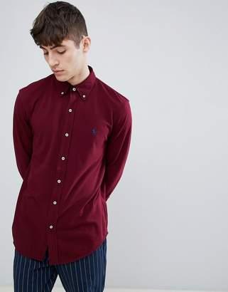 Polo Ralph Lauren Slim Fit Pique Shirt Player Logo Button-Down In Burgundy