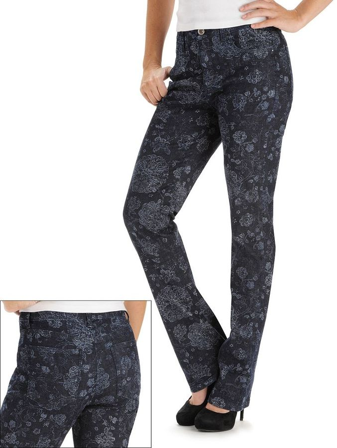Monroe Lee floral classic fit straight-leg jeans - women's