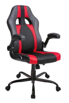 Merax High Back PU Leather and Mesh Office Chair Executive Racing Gaming Chair Swivel Computer Desk Seat with Adjustable Arms, Multiple Colors