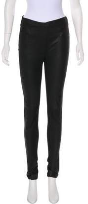 Veda Leather-Accented Mid-Rise Leggings