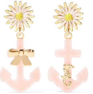 Miu Miu Gold-tone, Plexiglas® And Enamel Clip Earrings