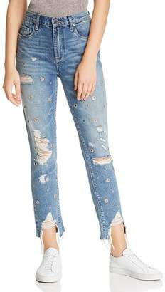 Blank NYC BLANKNYC Rigid High-Rise Grommet Distressed Straight-Leg Jeans in Bohemian Rap City