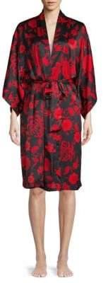 Natori Three-Quarter-Sleeve Floral Wrap