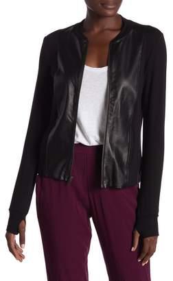 Michael Stars Leather Long Sleeve Jacket
