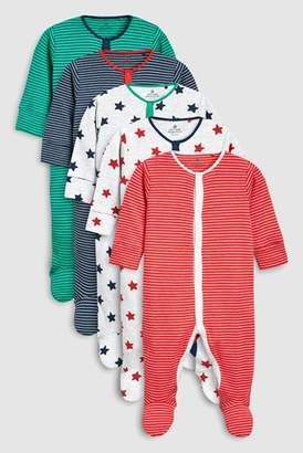 Next Boys Multi Stripe And Star Sleepsuits Five Pack (0mths-2yrs)