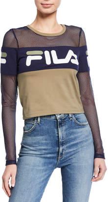 Fila Tara Mesh Long-Sleeve Crop Shirt