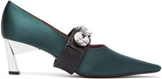 Marni Crystal-embellished kitten-heel satin pumps