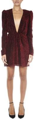 Saint Laurent Burgundy Velvet Dress