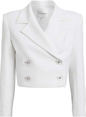 Carmen March Cropped Crepe Double Breasted Blazer