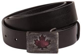 DSQUARED2 30mm Leather Belt W/ Maple Leaf Buckle