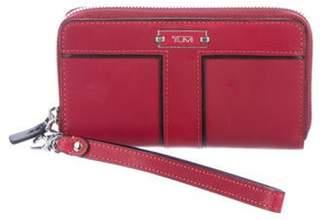 Tumi Leather Wristlet Wallet silver Leather Wristlet Wallet