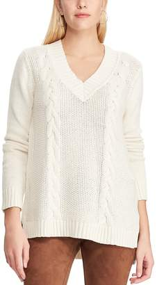 Chaps Women's Cable-Knit High Low Hem Sweater