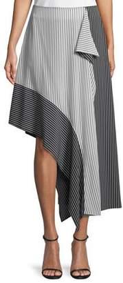 Robert Rodriguez Asymmetric Colorblock Striped Skirt