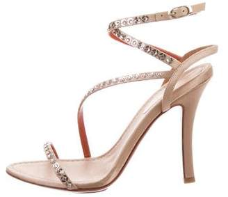 Santoni Jewel-Embellished Satin Sandals w/ Tags