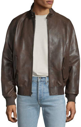Michael Kors Men's Barracuda Leather Zip-Front Jacket