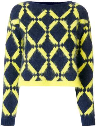 Versace geometric-knit jumper