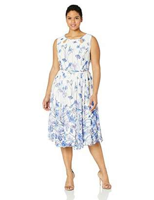 Gabby Skye Women's Plus Size All Over Floral Printed a-Line Dress