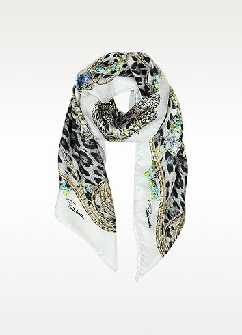 Roberto Cavalli Jewels and Animal Print Twill Silk Square Scarf