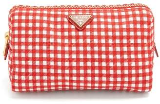 Prada Gingham Woven Make Up Bag - Womens - Red