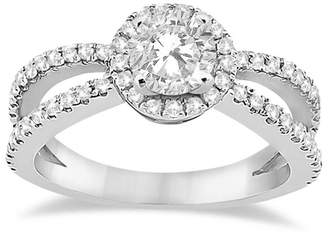 Allurez Women's Unique Bridal Split Shank Diamond Halo Engagement Ring Setting Platinum (0.46ct)