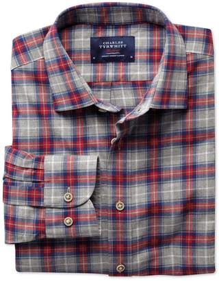 Charles Tyrwhitt Extra Slim Fit Red and Grey Check Heather Cotton Casual Shirt Single Cuff Size Small
