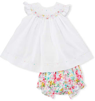 Luli & Me Embroidered Bishop Dress, w/ Floral Bloomers, Size 3-12 Months