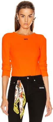 Off-White Off White Long Sleeve Bodysuit in Orange & Black | FWRD