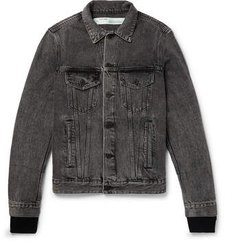 Off-White Off White Slim-fit Panelled Denim And Printed Cotton-jersey Jacket - Black