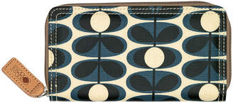 0b38b4f874e3 Orla Kiely Laminated Flower Oval Stem Big Zip Wallet - Indigo
